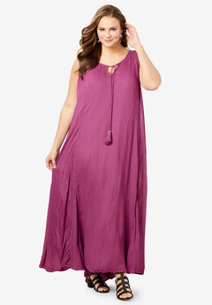 Crinkle A-Line Maxi Dress, PURPLE MAGENTA