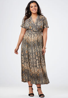 Wrap Maxi Dress in Crinkle, TAN SNAKE SKIN