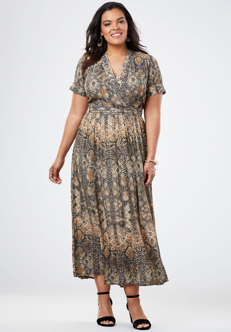 72c767bf6f08c Wrap Maxi Dress in Crinkle