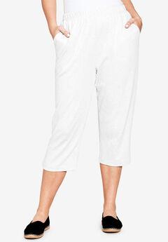 Soft Knit Capri, WHITE, hi-res