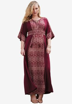 Lace-Up Kimono Dress, RICH BURGUNDY PRINT, hi-res