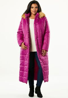 Quilted Faux-Fur Trim Maxi Length Parka, RICH MAGENTA