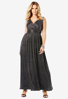 Textured Metallic Dress with Surplice Neck,