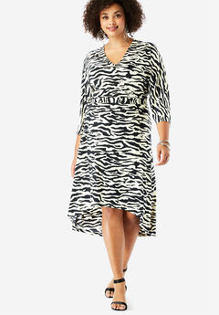 Dolman-Sleeve Wrap Dress with High-Low Hem, BLACK IVORY ZEBRA