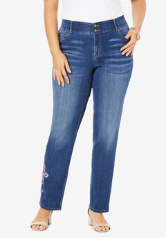 The Straight-Leg Curvy Jean by Denim 24/7®, FLORAL PAISLEY EMBROIDERY