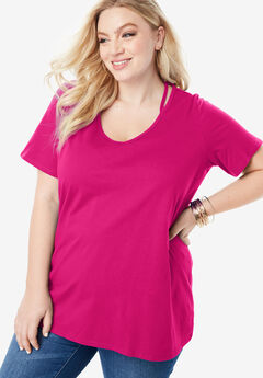 Slit V-Neck Ultimate Tee,