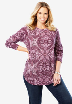 Thermal Print Tee, PURPLE KALEIDOSCOPE PAISLEY