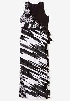 Sleeveless Wrap Dress with Tie Waist,