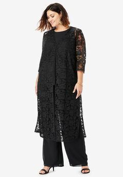 Three-Piece Lace Duster & Pant Set, BLACK