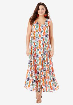 Button-Front Everywhere Crinkle Dress, TRIBAL IKAT