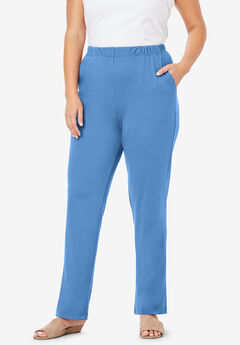 Straight-Leg Soft Knit Pant, HORIZON BLUE