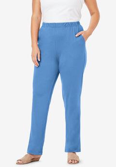 Straight-Leg Soft Knit Pant, HORIZON BLUE