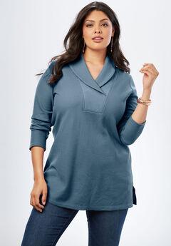 Thermal Shawl Collar Tunic, ICY BLUE, hi-res