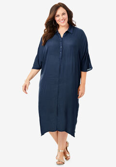 Pullover Crinkle Shirtdress with Dolman Sleeves, NAVY