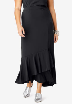 A-Line Maxi Skirt with Ruffle Hem,