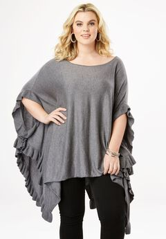 Ruffle Poncho Sweater,