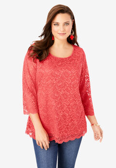 All-Over Lace Boatneck Tee with Illusion Sleeves, SOFT GERANIUM