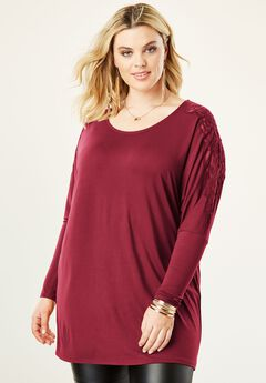 Lace Shoulder Drape Tunic,