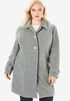 Plush Fleece Jacket, HEATHER GREY
