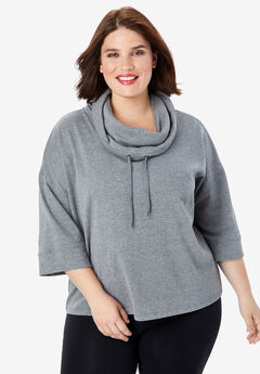 Drawstring Cowlneck Sweatshirt, MEDIUM HEATHER GREY