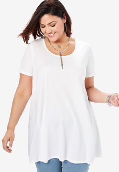 Scoopneck Swing Ultimate Tunic, WHITE