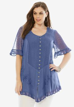 Embroidered Tunic, DARK BLUE, hi-res