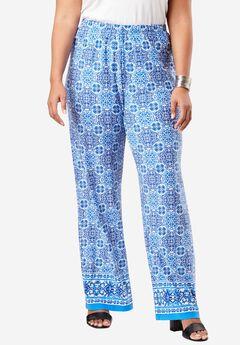 Wide Leg Pants , BLUE TILE PRINT
