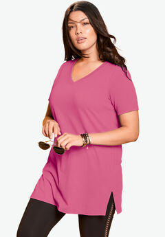 V-Neck Maxi Tunic, ROYAL ROSE, hi-res
