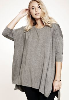 Side Slit Drape Tunic, MEDIUM HEATHER GREY, hi-res