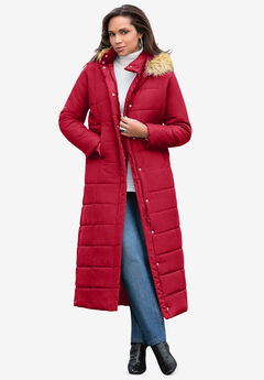 Maxi-Length Puffer Jacket with Hood, CLASSIC RED