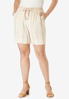 Drape Short, BEIGE TRIBAL STRIPE
