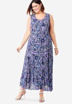 Button-Front Everywhere Crinkle Dress, LILAC PAISLEY