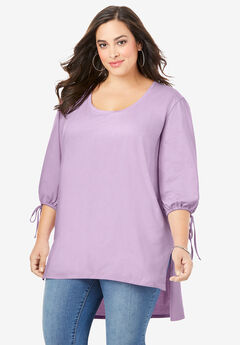Tie-Sleeve Ultimate Tunic with High-Low Hem, PALE LAVENDER