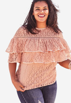 Lace Tiered Top with Keyhole Back, DUSTY PINK, hi-res