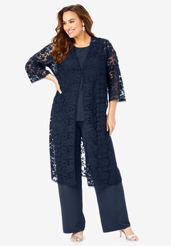 Three-Piece Lace Duster & Pant Set, NAVY