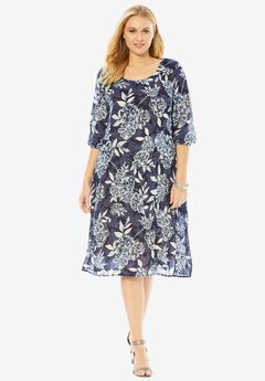 Cutout Crinkle Dress, NAVY GROUND PRINT, hi-res
