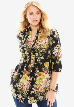 English Floral Tunic with Pintucks, BLACK, hi-res