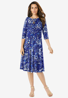 Ultrasmooth® Boatneck Swing Dress, NAVY PAINTED GARDEN
