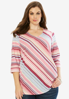 Diagonal Stripe Tee, RUBY BERRY MULTI STRIPE, hi-res