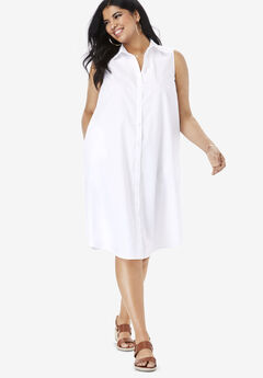 Sleeveless Kate Dress with Pockets, WHITE