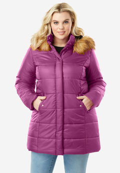 Classic Quilted Parka with Faux Fur Trim, RICH MAGENTA