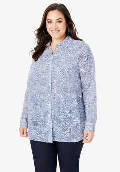 Georgette Tunic, BLUE CHEETAH