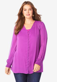 Lace-Trim Georgette Tunic,