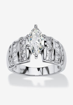 Platinum over Silver Marquise Cut Engagement Ring,