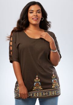 Embellished Lattice Sleeve Top, CHOCOLATE EMBROIDERED