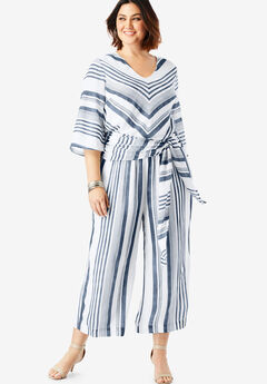 Culotte Jumpsuit, NAVY/WHITE STRIPE, hi-res