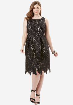Lace Fit-And-Flare Dress, BLACK, hi-res