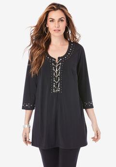 Ultrasmooth® Fabric Rhinestone-Embellished Tunic,