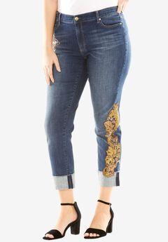 Sequin Cuff Jean by Denim 24/7®, MEDIUM WASH, hi-res