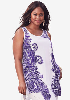 Handkerchief Hem Super Tunic, PURPLE LACE PRINT, hi-res
